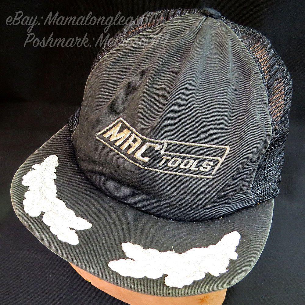 267bea92af Vintage Beat Up MAC Tools Mesh Snapback Trucker Hat Cap Silver Ivy ...