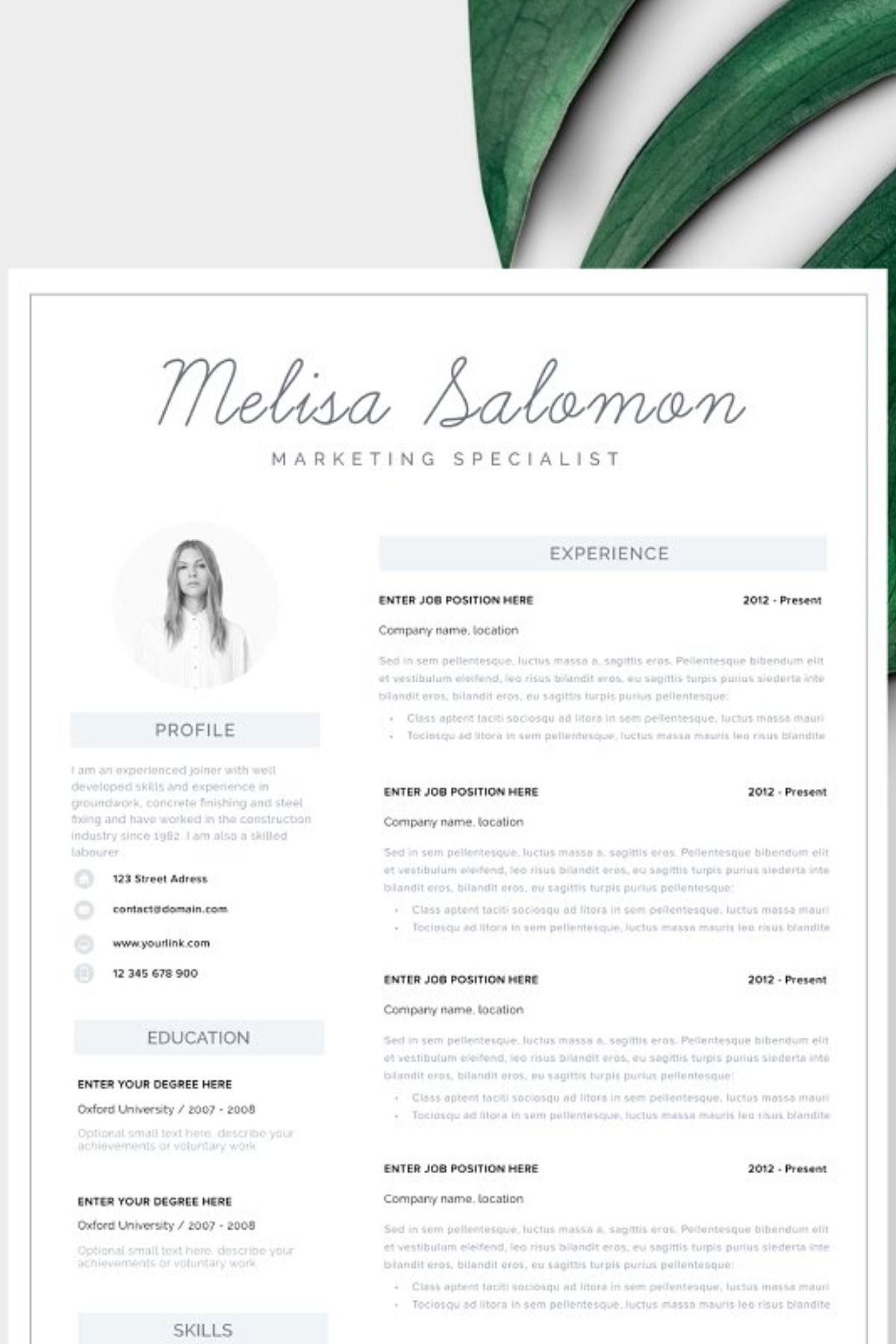 Resume Template 1, 2 page Melbourne Resume template