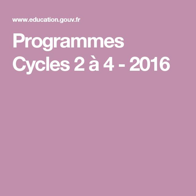Programmes Cycles 2 à 4 - 2016