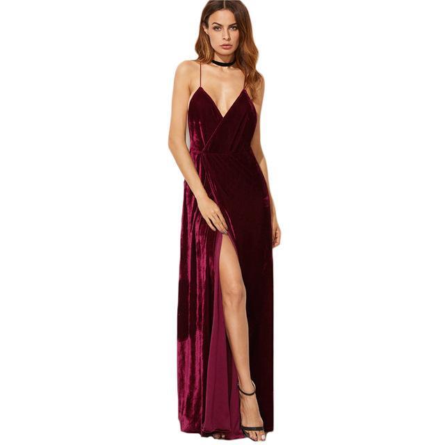 Deep V Neck Slip Back Cross High Split Long Chiffon Dress Spaghetti Strap dress