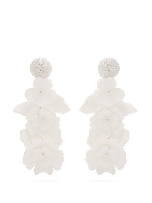 Oscar De La Renta Gold Climbing Flower Earrings Black/white jHJqkzT0X