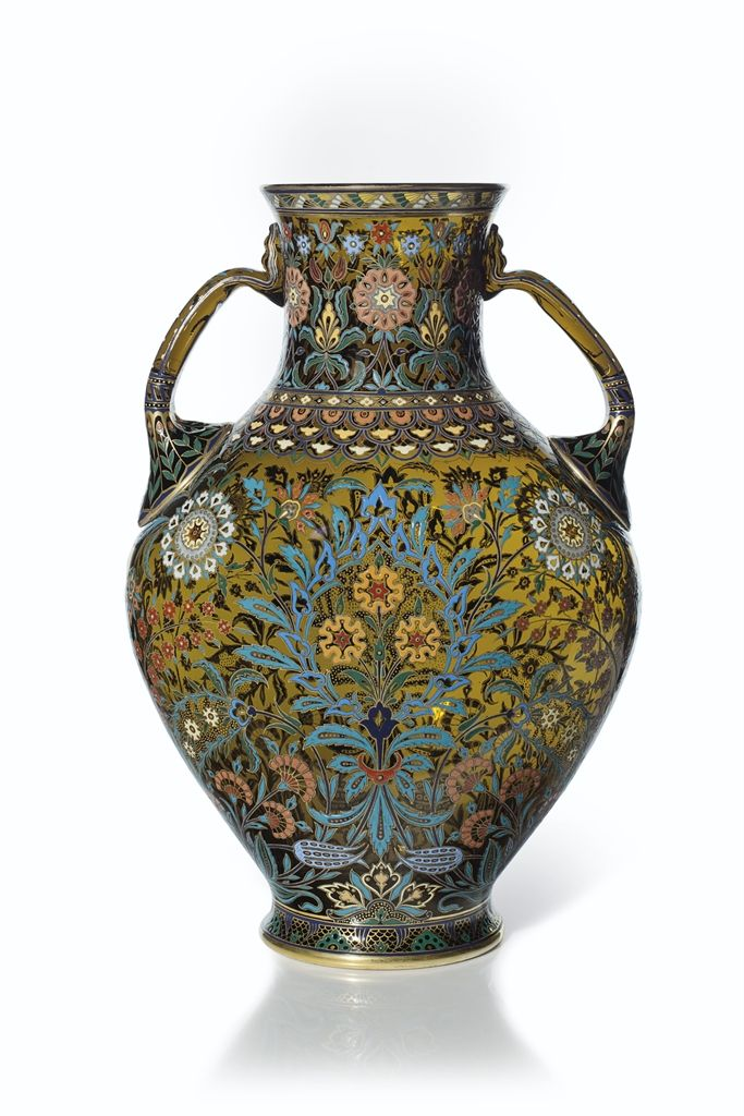 A Large J L Lobmeyr Two Handled Enameled Persian Style Amber