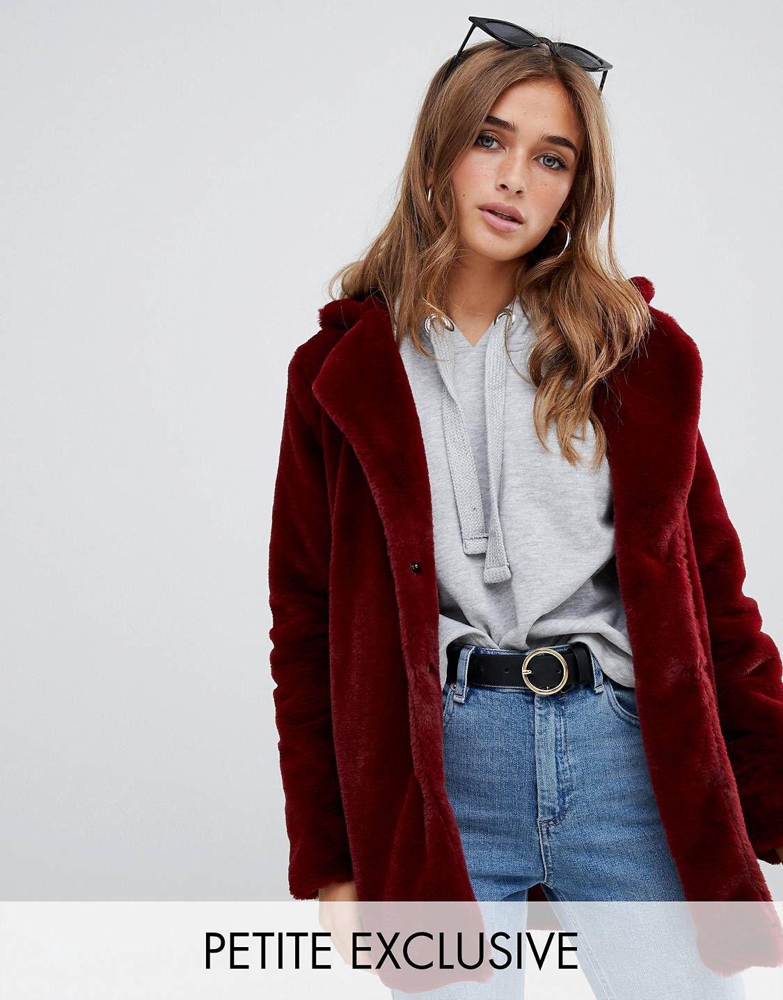 Coat In Exclusive Fur Petite Boohoo Faux Burgundy KlFJc1