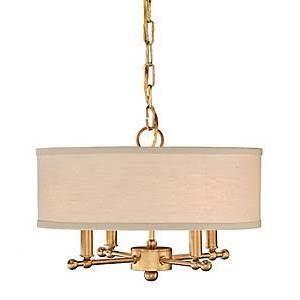 Remington Lamp 1602 Antique Brass Ceiling Pendant W/ Putty Linen Shade