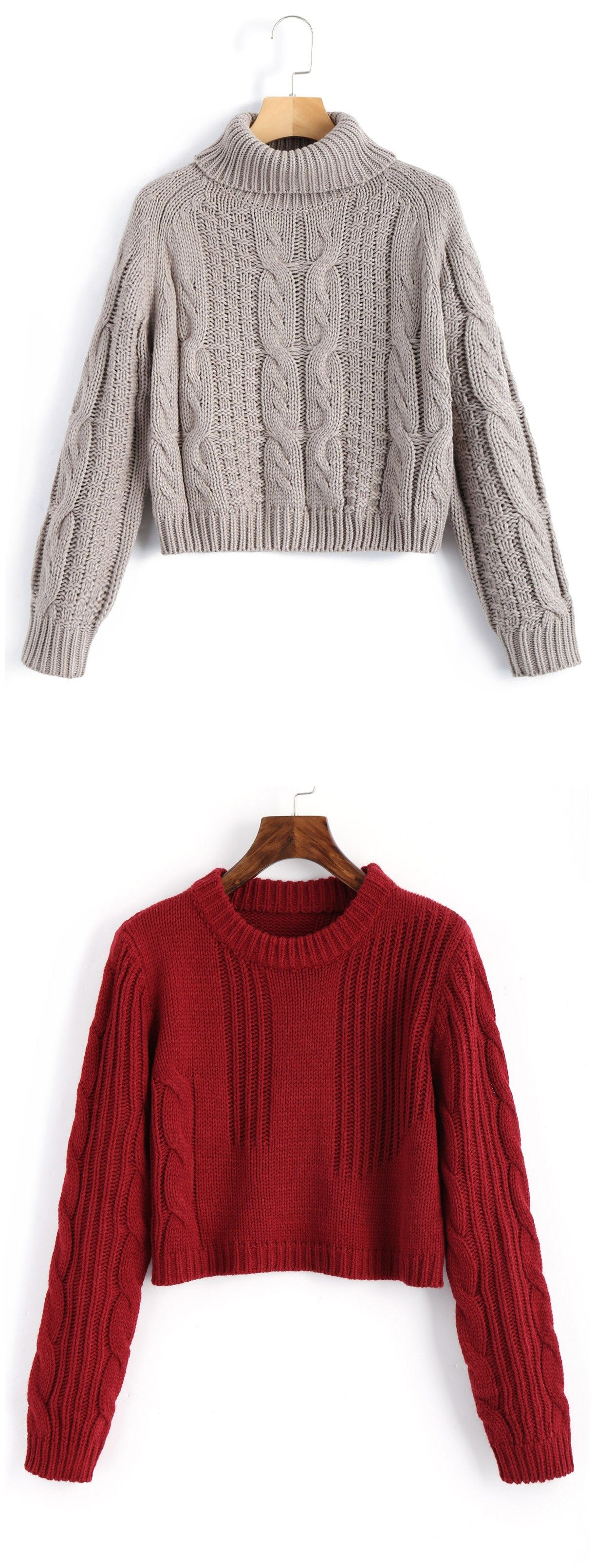 4e48b468f9 Up to 68% OFF! Cable Knit Panel Pullover Cropped Sweater.  Zaful ...
