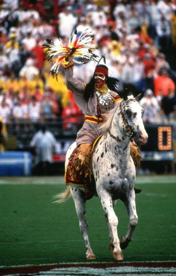 Florida Memory Fsu Mascot Chief Osceola Riding Renegade Before A Football Game At Doak Campbell Stadium In Tallah Fsu Florida State Football Seminole Art