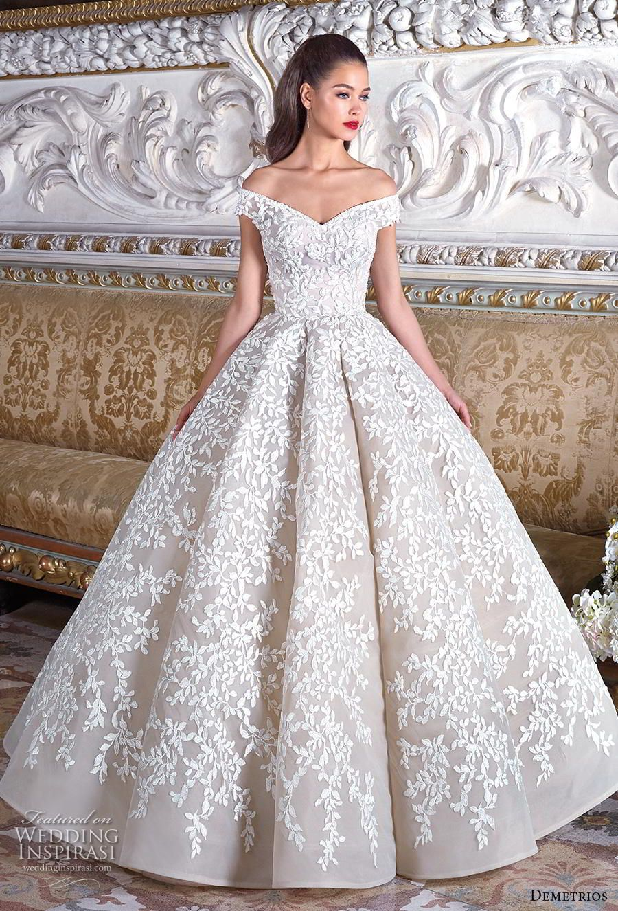 ae314f81218 demetrios 2019 bridal off the shoulder v neck full embellishment romantic  princess ball gown a line wedding dress sweep train (9) mv -- Platinum by  ...