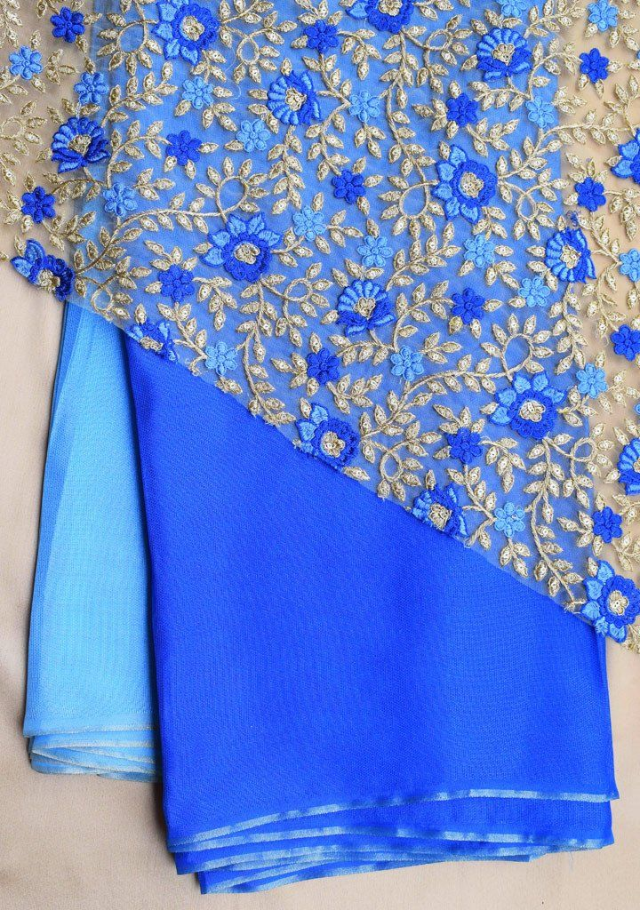 a562dda07e4f11 Shaded Blue jute saree with net blouse piece   sarees   Net blouses ...