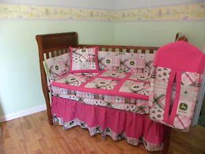 John Deere Baby Nursery Crib Toddler Kids Bedding Set Pink Madras - John deere idees de decoration de chambre