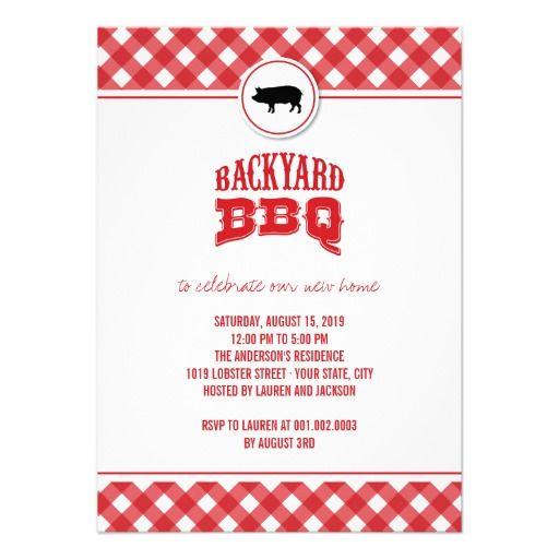 Red Checks Backyard BBQ Housewarming Summer Party Custom Invites