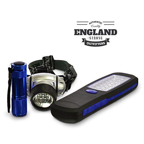 EnglandStrong LED Headlamp Flashlight and Worklight 3 Piece Set