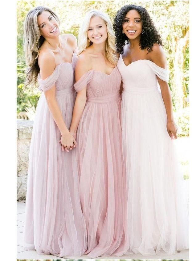 Elegant White Off Shoulder Floor-Length Tulle Bridesmaid ...