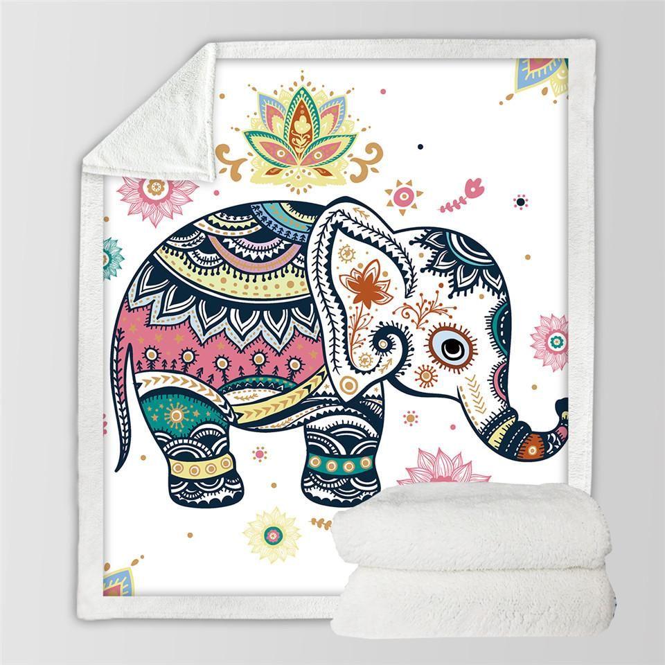 Beddingoutlet soft cozy velvet plush throw blanket rainbow elephant