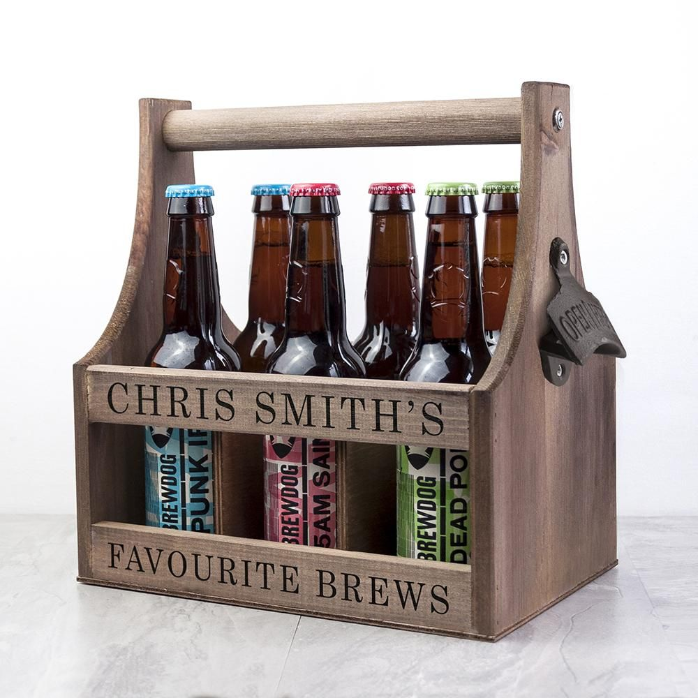 Personalised Wooden Beer Trug With Bottle Opener Ideal