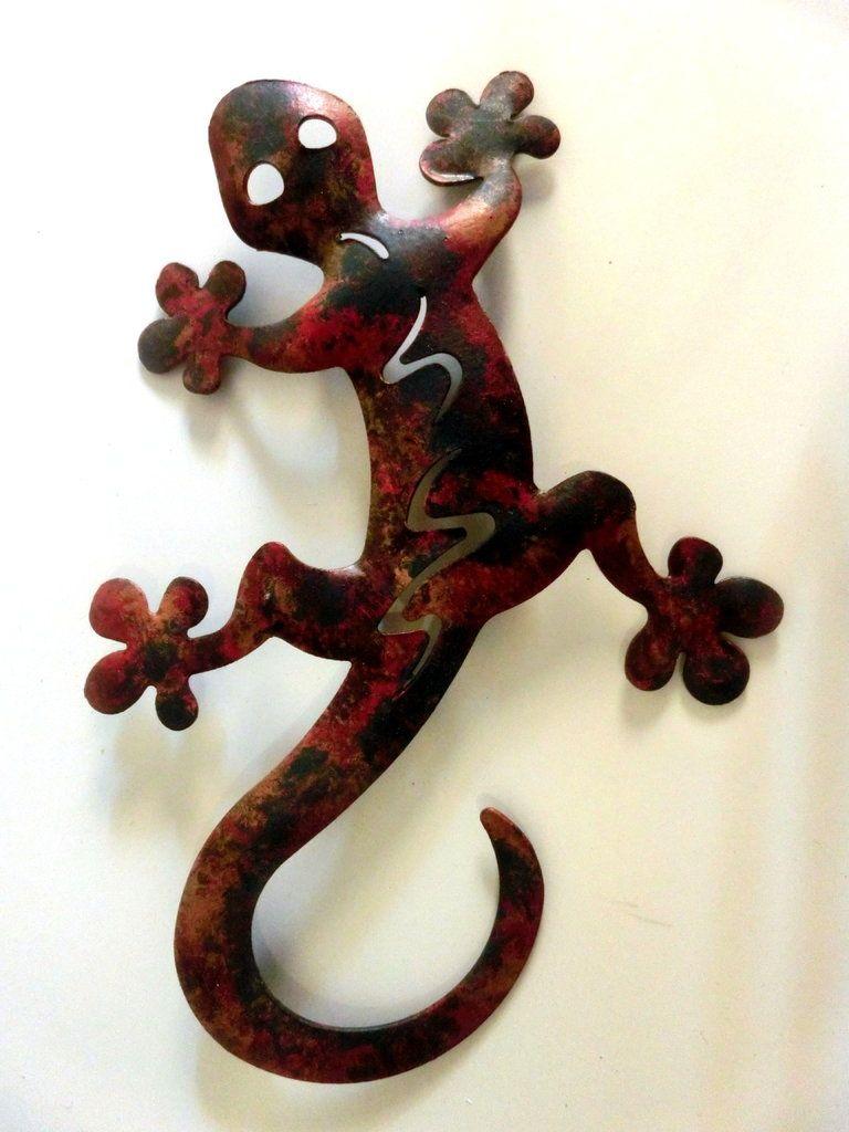 Wanddeko Mediterran gecko rotbraun 14cm wanddeko aus metall wetterfest und rostfrei