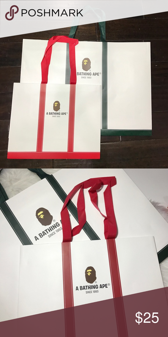 87faf4310f56 A Bathing Ape Bape Bags A Bathing Ape Bape Shopping Bags. One Green Large  Bag and One Red Medium. Bape Accessories