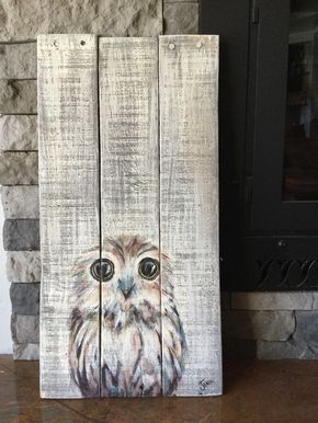 Baby Owl Painting Acrylic On Wood In 2021 Owl Painting Wood Art Painting On Wood