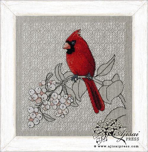 Northern Cardinal and Snowberry via http://www.ajisaipress.com/