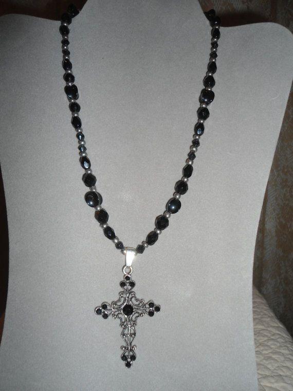 Antiqued Silver Cross Pendant Necklace black rhinestones black beads egl ooak rococo southwest hippie boho jewelry rustic goth gothic lolita by LandofBridget