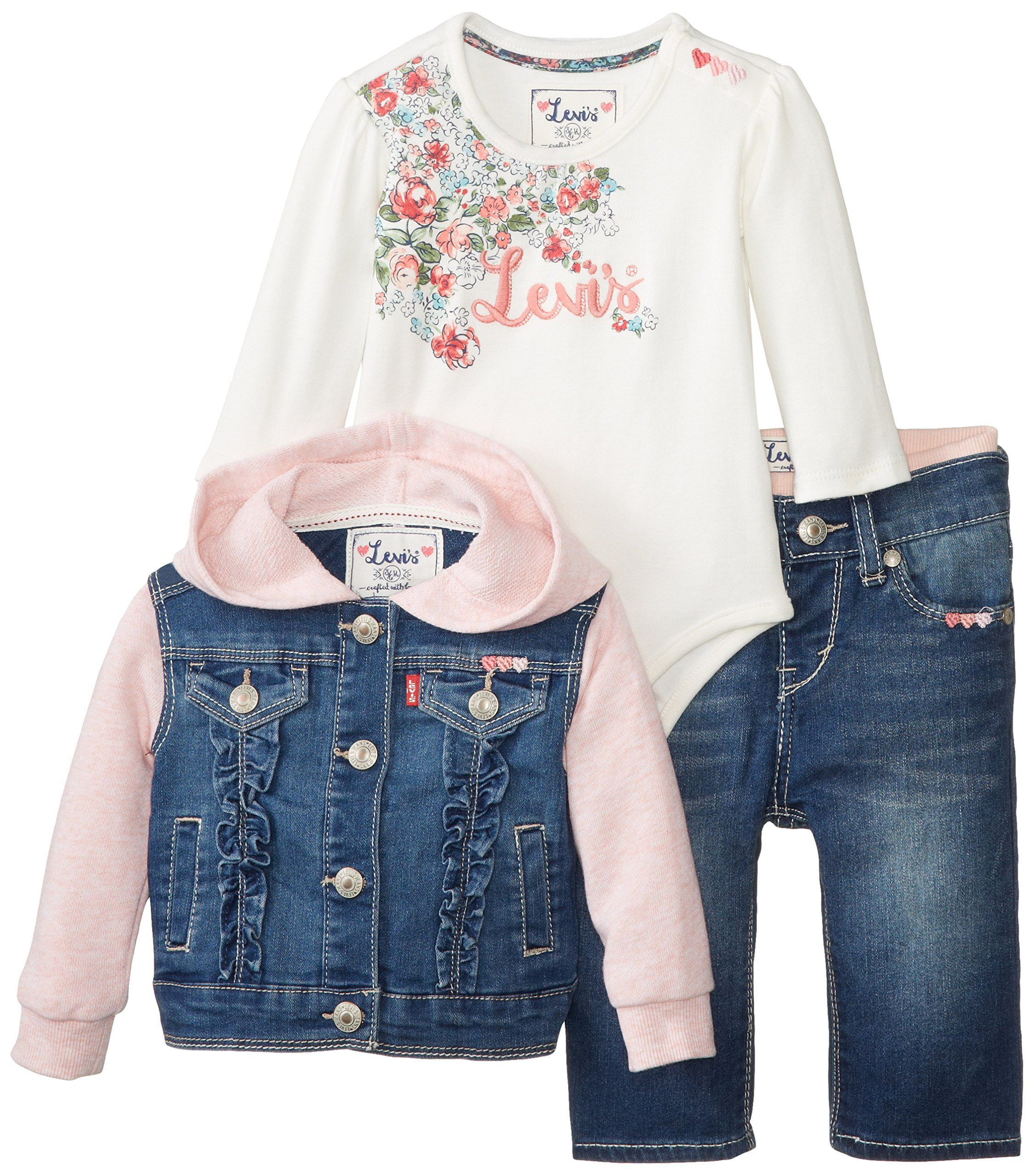 Amazon Com Levi S Baby Girls My First Gift Set Belle Jacket Creeper Brandi Skinny Jean Clothing Little Girl Outfits Kids Outfits Clothes [ 2560 x 2250 Pixel ]
