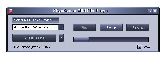SSynth com's MIDI file player is a free utility that plays standard