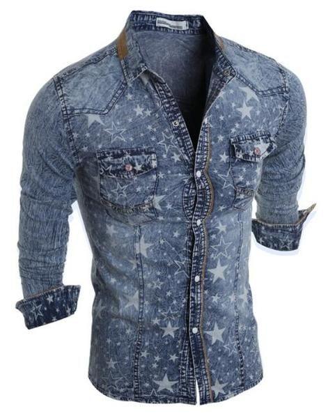 ceb2e8d343a Hot Sell Men Shirt Luxury Brand 2018 Male Long Sleeve Shirts Casual Mens  Denim printing Slim Fit Dress Shirts Mens Hawaiian 2XL