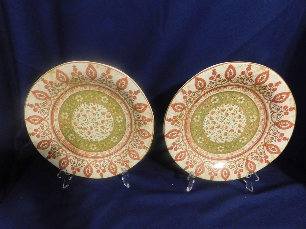 222 Fifth PTS International Kashmir Dinner Plates - 2 Fine Porcelain Dish/Micro & 222 Fifth PTS International Kashmir Dinner Plates - 2 Fine Porcelain ...