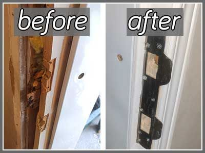 Door Frame Repair Photo Check Out The New Wood And Metal Plates We Installed After Were Kicked In