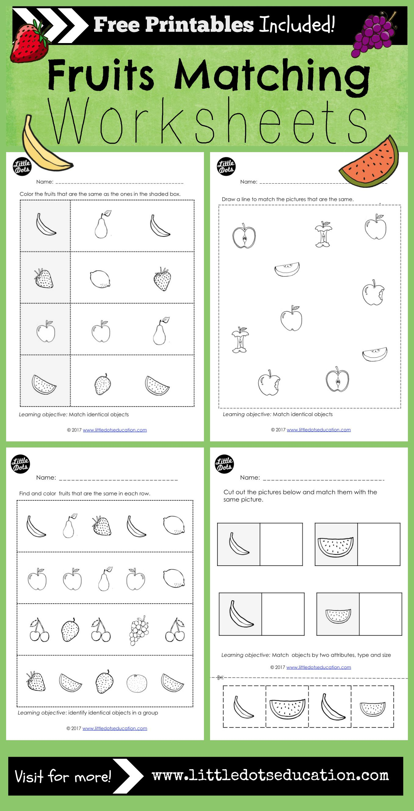 Preschool Fruits Theme Matching Worksheets And Activities
