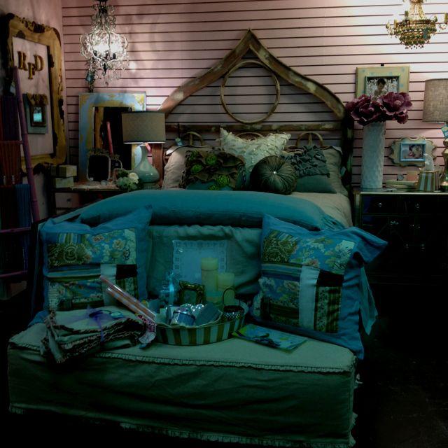 Turquoise & khaki bedding. Room 22 @ Northpark Mall in OKC.