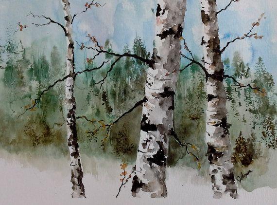 Original Watercolor Birch Trees Birch Tree Art Tree Art