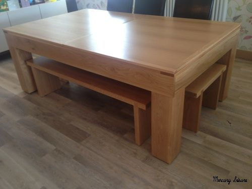 Bespoke Cube Pool Dining Table With Solid Oak Bench Seats Home - Pool dining table with bench