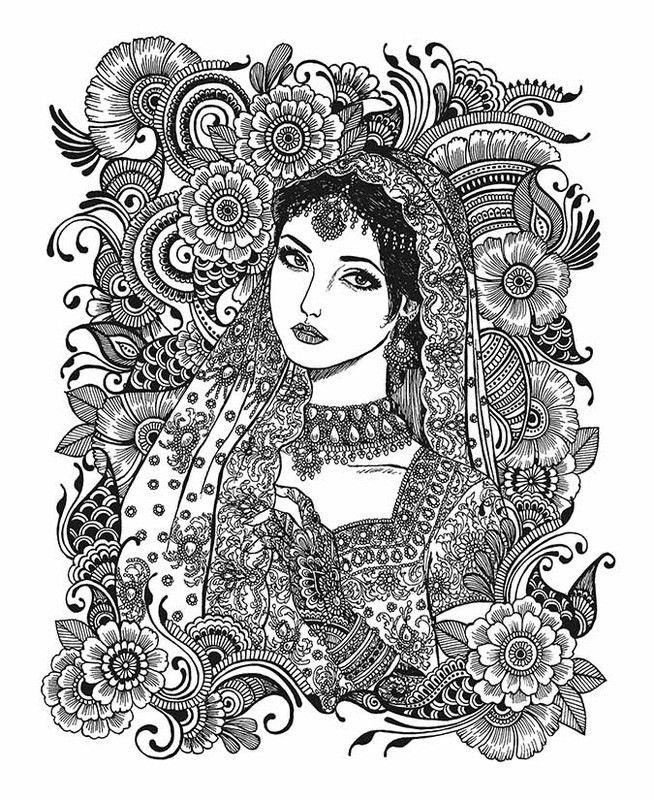 Indian Princess Coloring Page Mandala Art Lesson Mandala Design Art Mandala Artwork