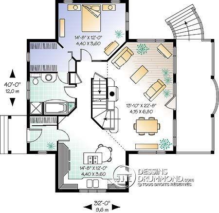 Détail du plan de Maison unifamiliale W2939 Plan de maison Pinterest