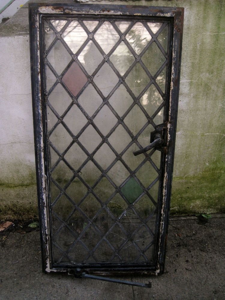 Vtg Antique Architectural 39 Stained Glass Window Diamond Pane Lead Old Rare Stained Glass Stained Glass Door Leaded Glass