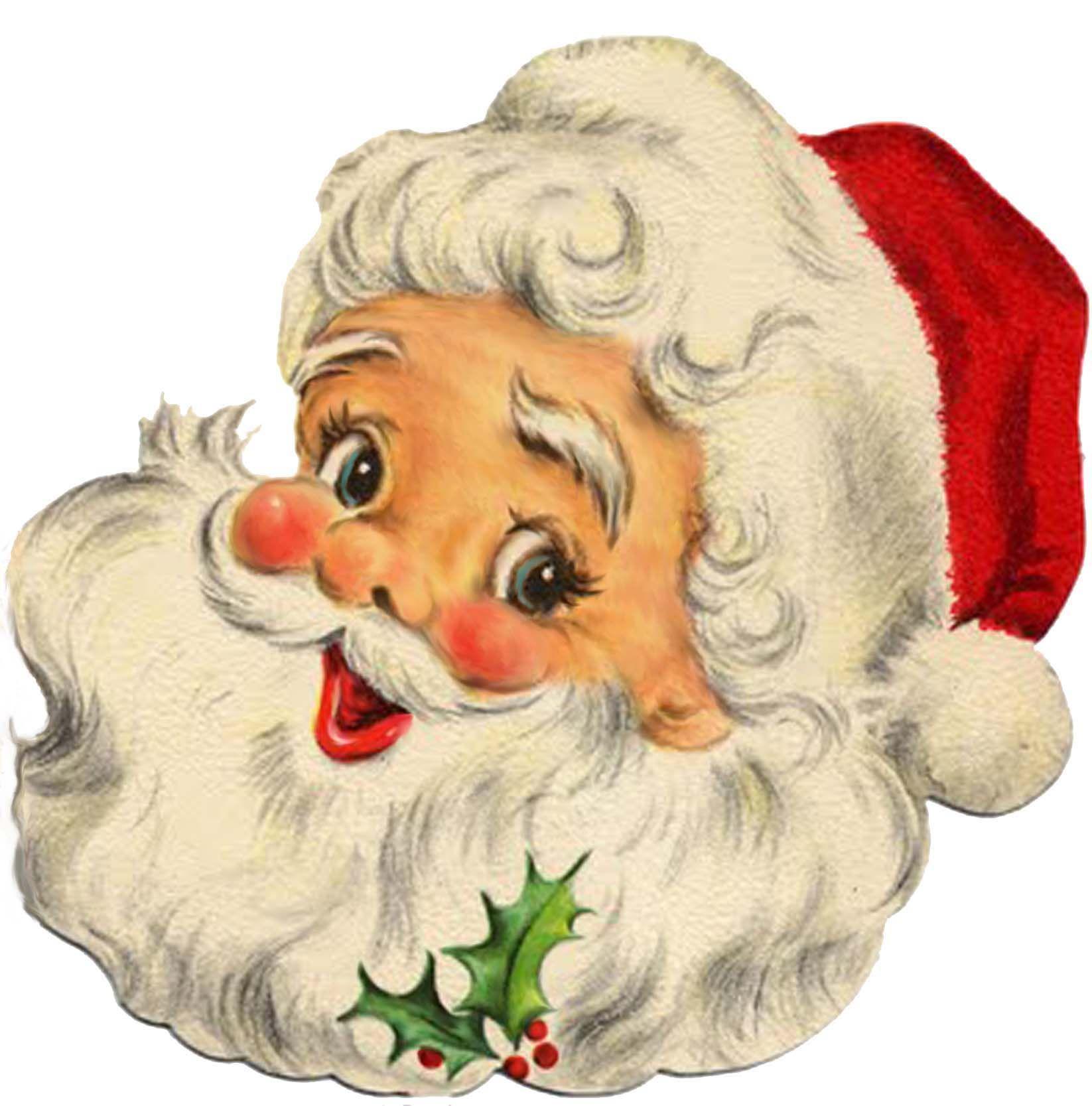 37++ Vintage santa face clipart information