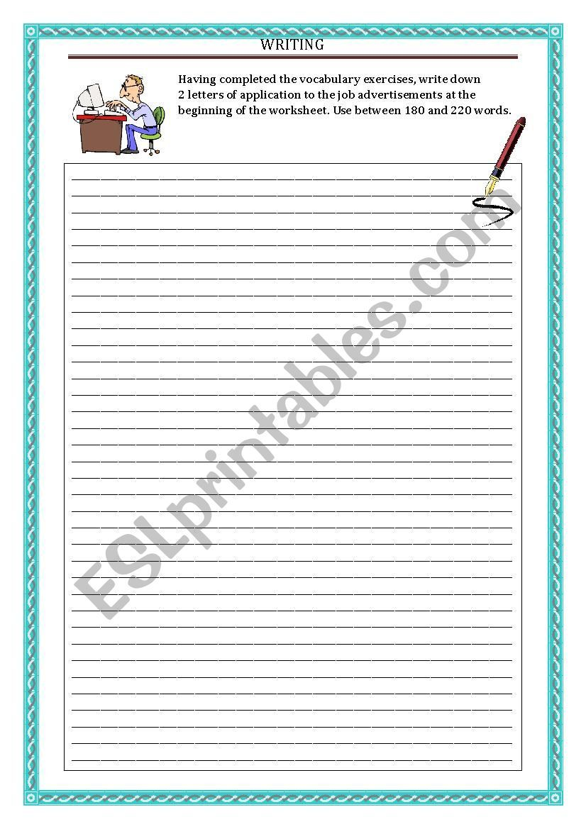 Writing Letter Of Application Part 3 Writing Worksheets Writing Lettering [ 1169 x 826 Pixel ]
