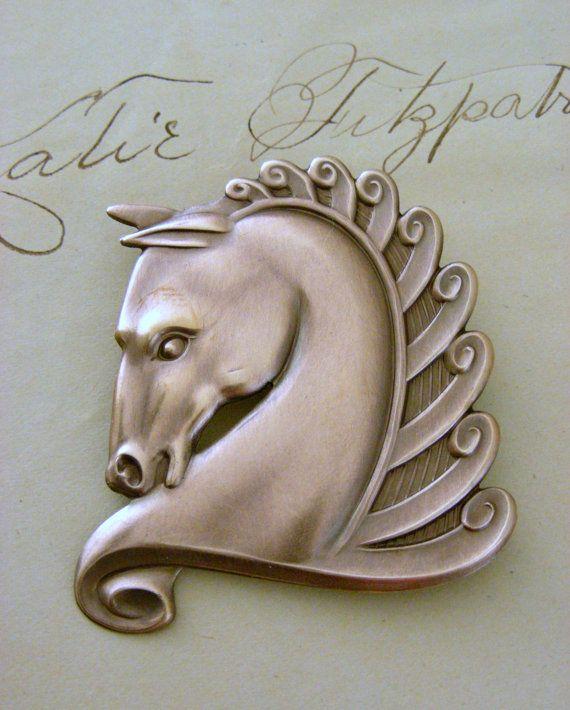 Vintage Brass Trojan Horse Style Art Deco Pin Brooch