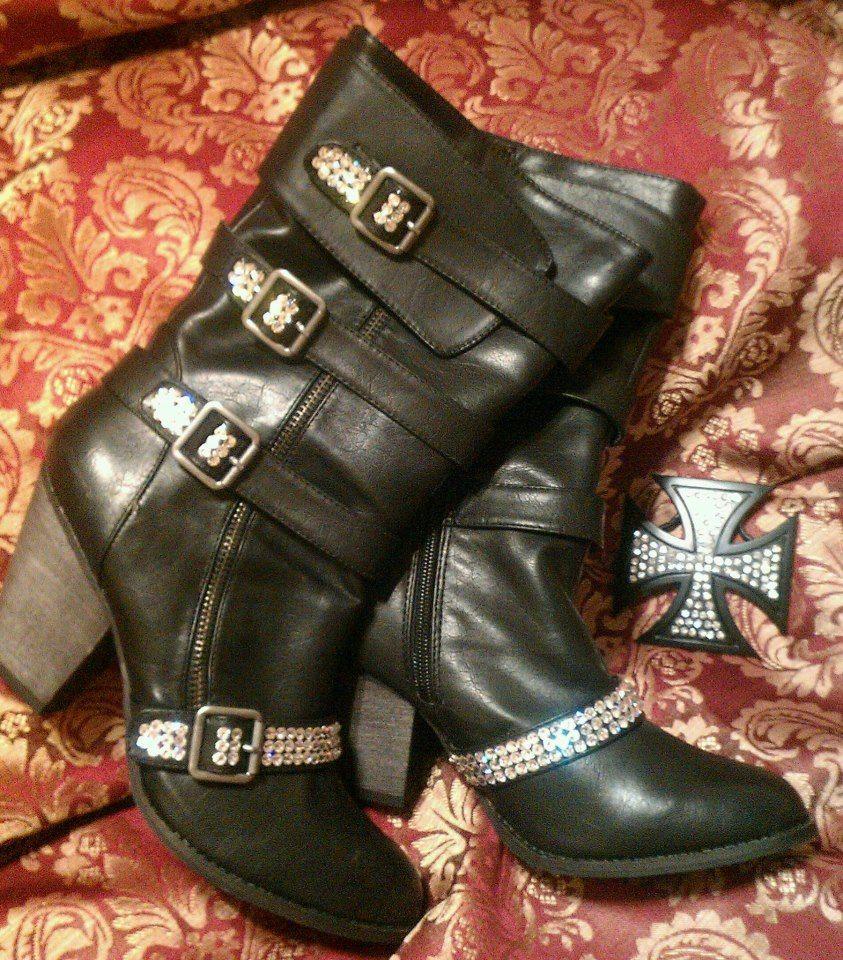 Custom BLING BLINGBLING Biker Boots...Let us personalize