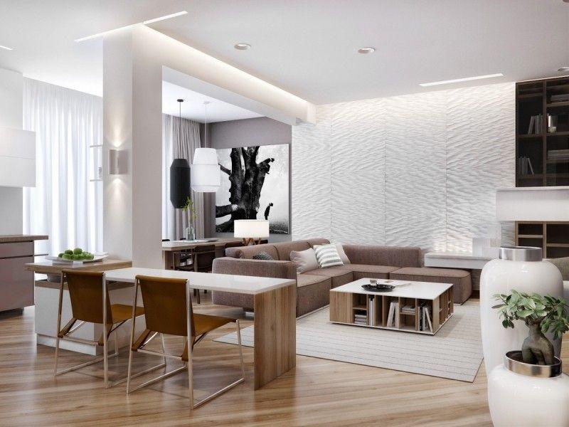 Modernes Wohnzimmer In Weiss Braun
