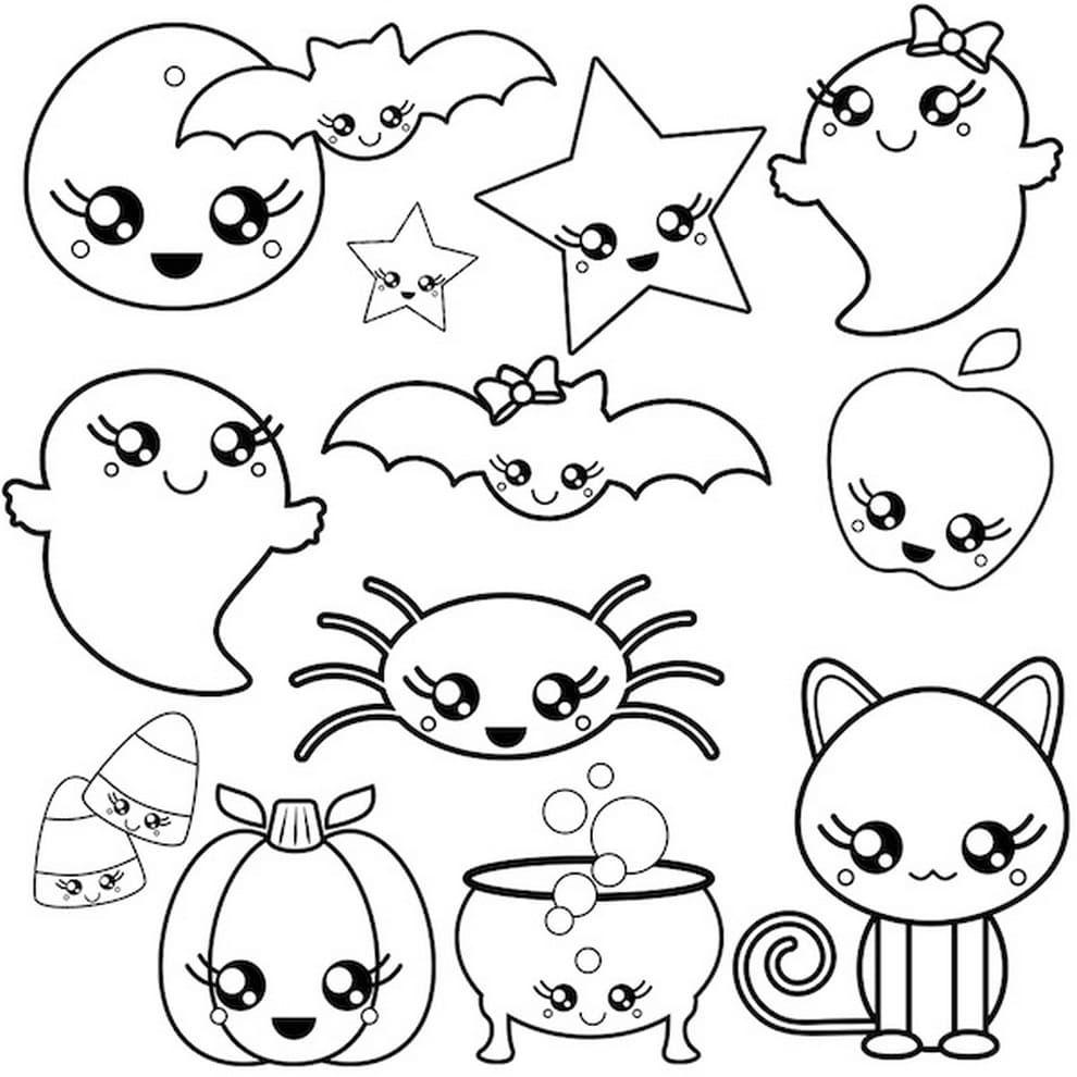Dibujos De Kawaii Para Colorear Imprimir Caracteres Inusuales Dibujos De Halloween Dibujos Kawaii Halloween Para Colorear