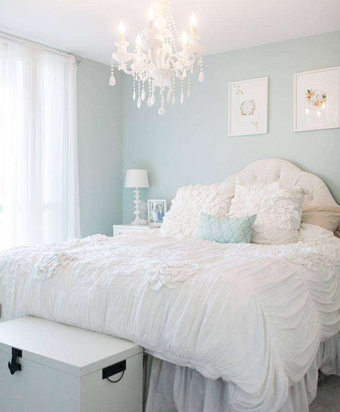 Deco Chambre Adulte Murs Couleur Bleu Clair Linge De Lit