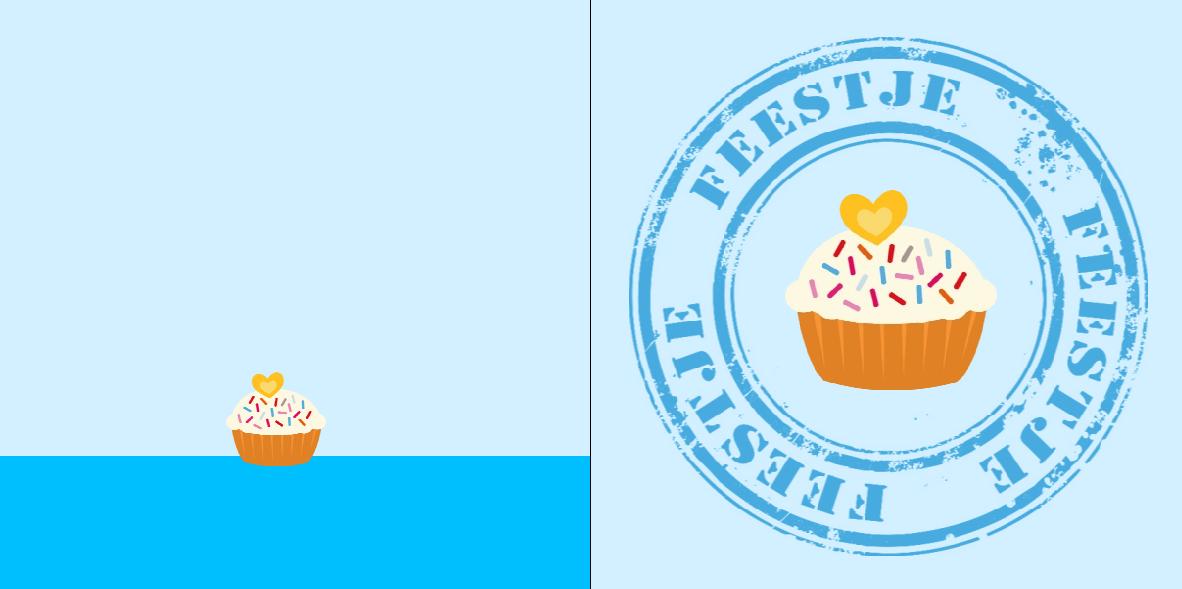 Verjaardagskaart: feestje met cake - voorkant