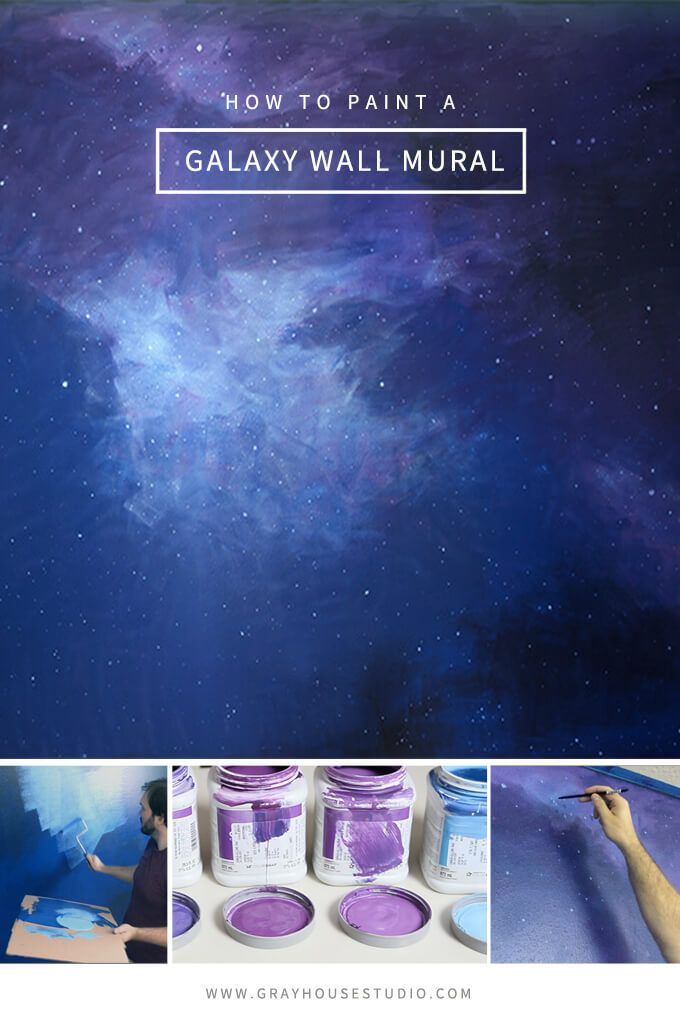 How To Paint A Galaxy Wall Mural In Spaceship Themed Playroom Kids Rooms Diy Murals Painted Bedroom
