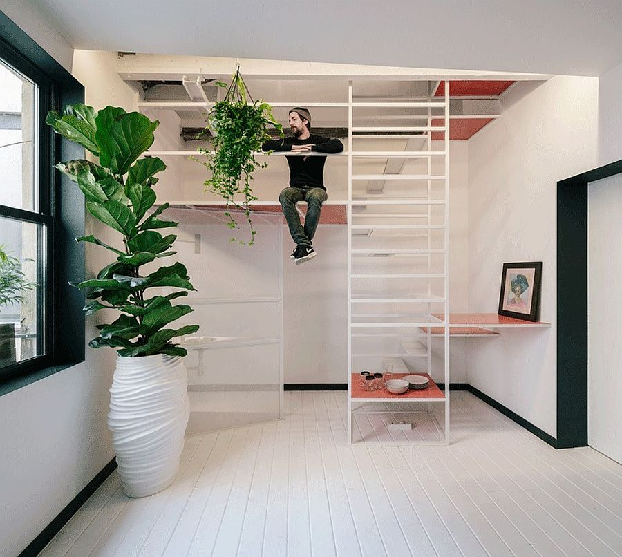 Ultra Tiny Madrid Apartment With A Multi Tasking Staircase At Its Heart Madrid Apartment New Staircase Wooden Sliding Doors