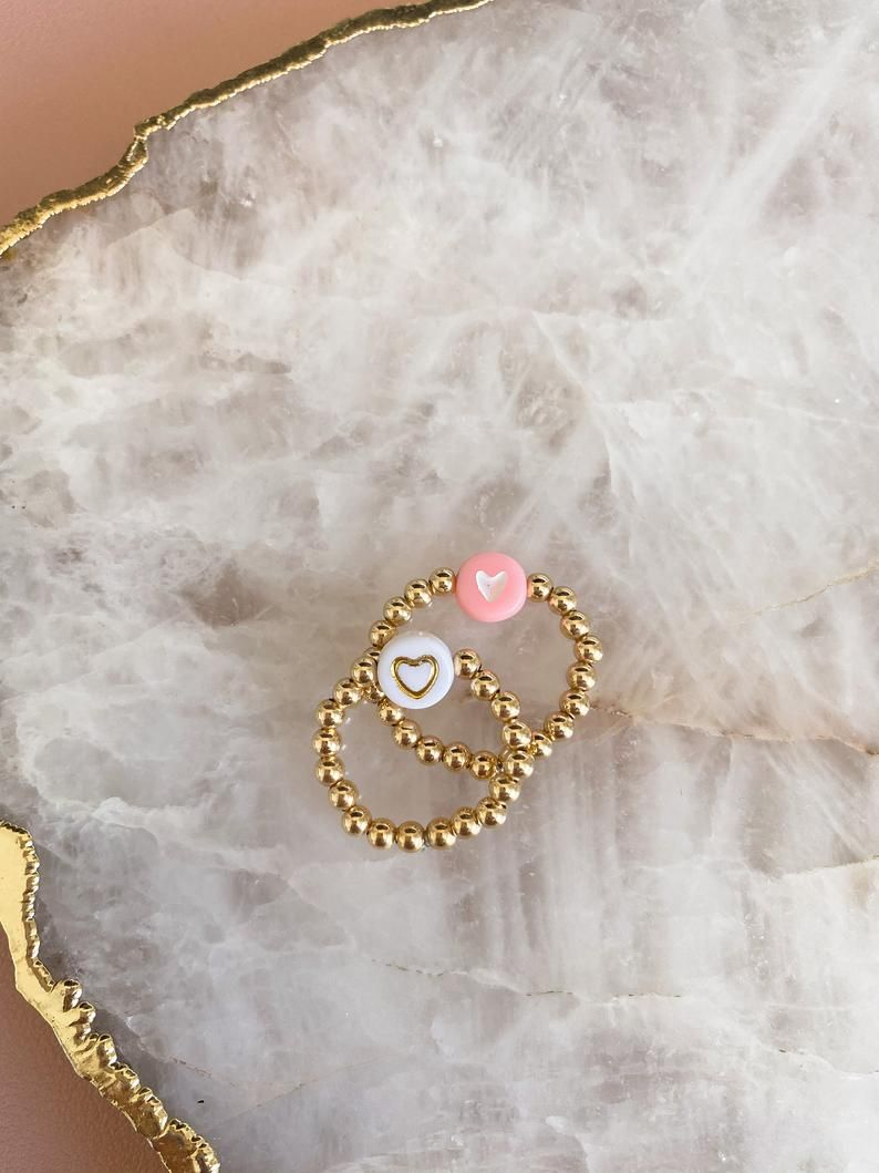 gold beaded white star ring