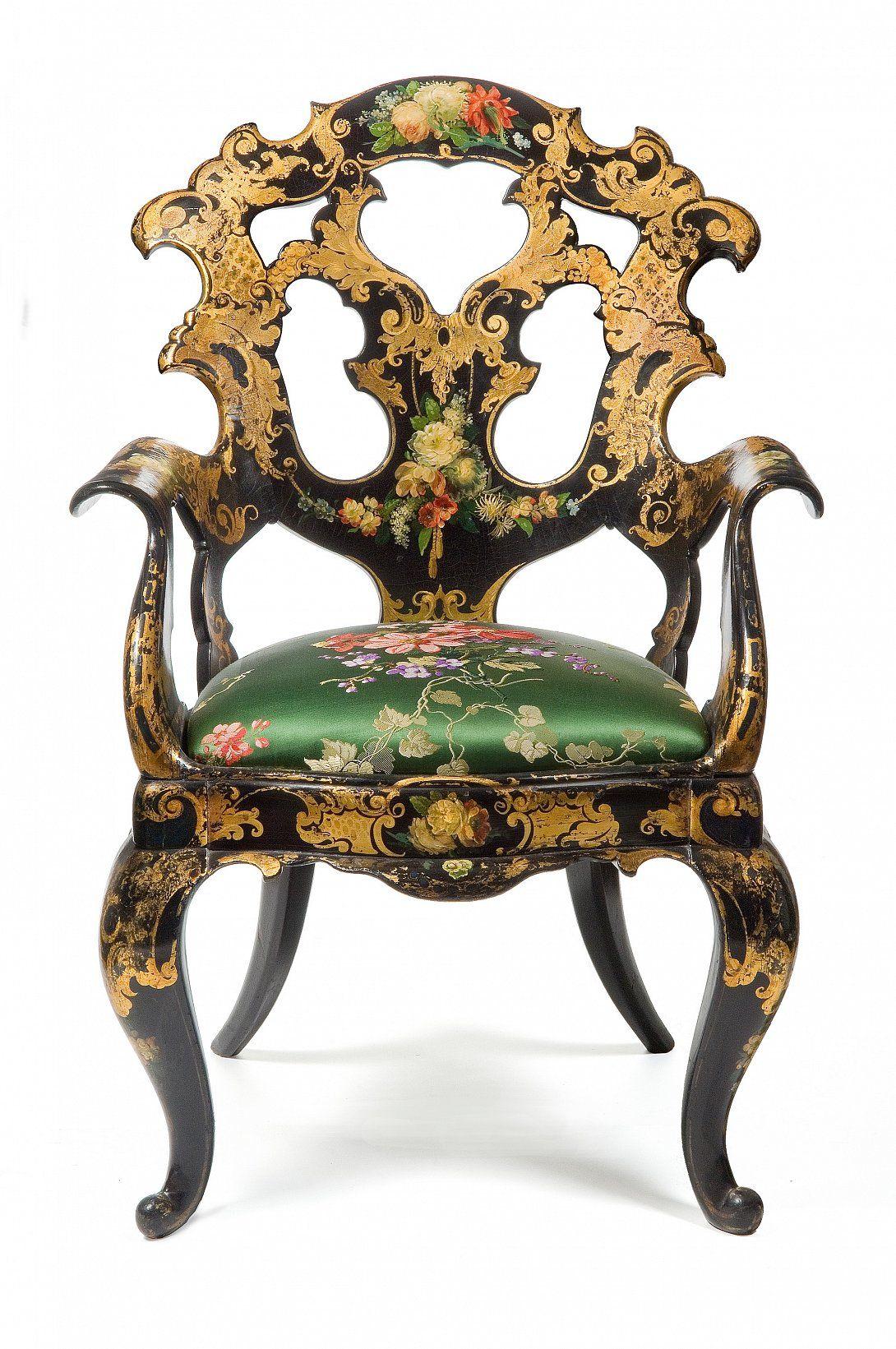 Fauteuil Gondole Jennens Et Bettridge Birmingham Vers 1850 1865 Bois Laque Noir Decor Peint Et Dore Tapisse Art Decoratif Fauteuil Musee Des Arts Decoratifs