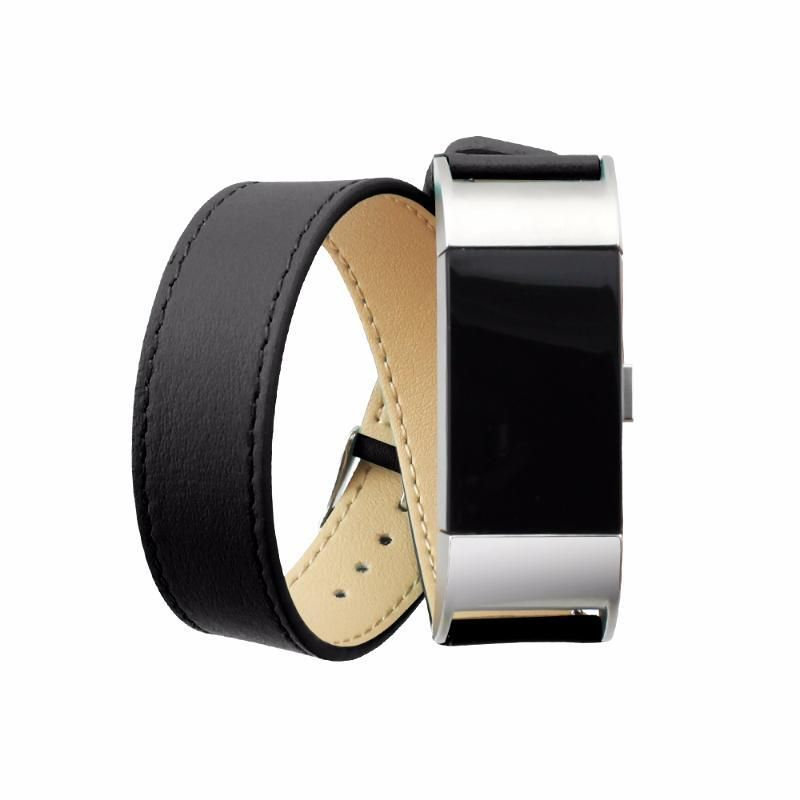Handcrafted Double Leather Wrap Fitbit Charge 2 Strap Watch Bands Genuine Leather Leather Watch Strap