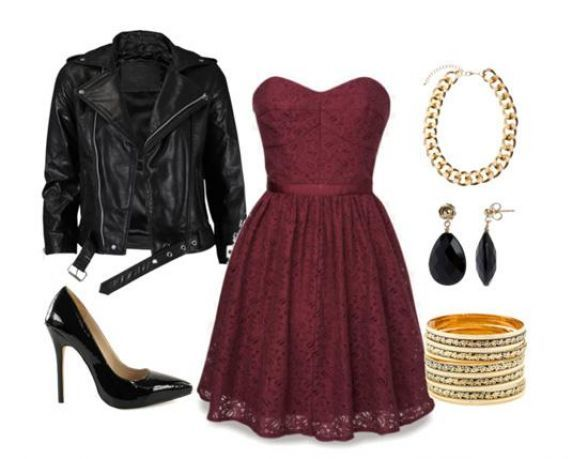 Un vestido formal con una chamarra de piel, totalmente trendy y juvenil.