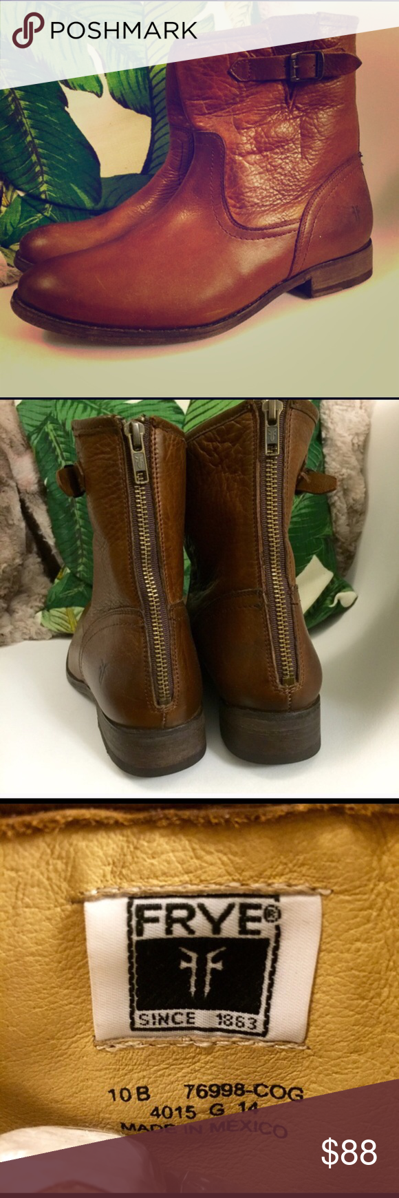 Frye Short Moto Boots Sz 10 Beautiful cognac color and super soft leather. Extremely durable and versatile...pair with jeans, shorts, or even a skirt. Comes 2-3 inches above the ankle. 100% authentic. Size 10. Frye Shoes Ankle Boots & Booties